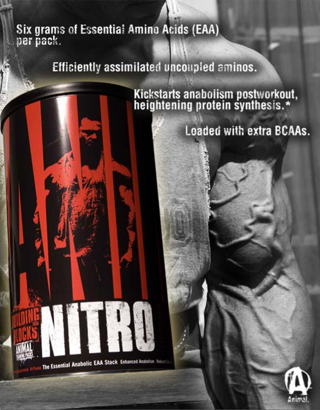 Animal Nitro съдържа отличен комплекс от незаменими аминокиселини и BCAA