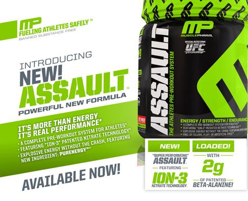 Мощният и безопасен азотен буустър MusclePharm - Assault XT