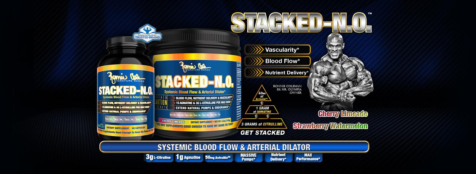 Stacked N.O. е един уникален и иновативен азотен буустър от серията Ronnie Coleman